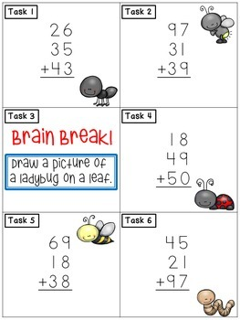 Double Digit Addition with Three Addends: Math Task Cards - Brain Break Scoot!