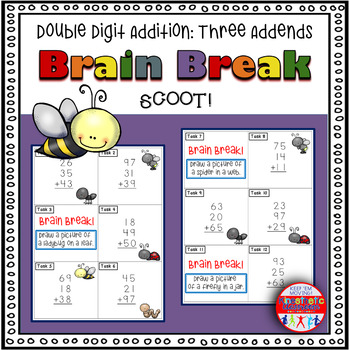Double Digit Addition with Three Addends: Math Task Cards