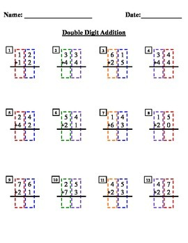 Double Digit Addition with colored column boxes