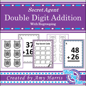 Double Digit Addition(with regrouping) Secret Code