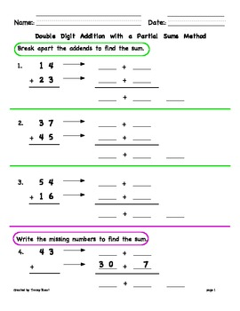 Double Digit Addition with Regrouping using Partial Sums / Break-Apart Method