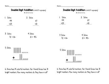 Double Digit Addition withOUT Regrouping Exit Ticket