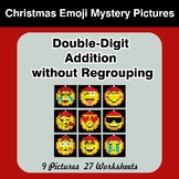 Double-Digit Addition without Regrouping - Christmas Emoji Mystery Pictures