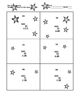 Double Digit Addition without Regrouping Star Chain Self-checking activity