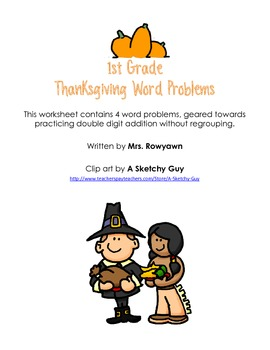 Double Digit Addition without Regrouping Thanksgiving Word Problems