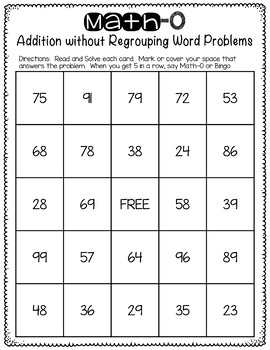 Double Digit Addition without Regrouping Word Problems Task Cards and Bingo Game
