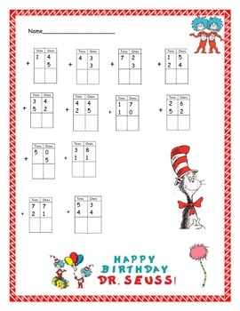 Double Digit Addition without re-grouping with Dr. Seuss