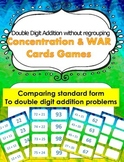 Double Digit Addition (without regrouping) Concentration & War Card Games
