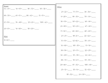 Double-Digit Addition/Subtraction Hidden Picture