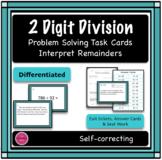 2 Digit Division Differentiated Word Problem Task Cards, Interpreting Remainders