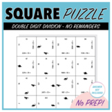 Double Digit Division without Remainders - Square Puzzle