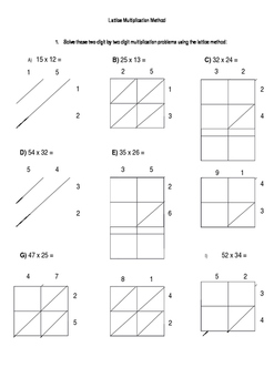 Double Digit Lattice Multiplication Sheet