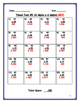 Double Digit Multiplication (3rd set)- Can be used as timed test