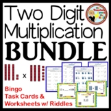 MULTIPLICATION - Double Digit Mult. BUNDLE-Bingo/Task Cards/Worksheets 4-5