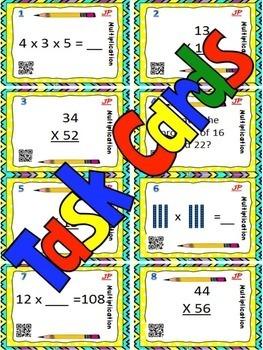 MULTIPLICATION - Double Digit Mult. BUNDLE-Bingo/Task Cards/Worksheets 4-5