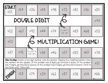 Double Digit Multiplication Board Game *Low Prep*