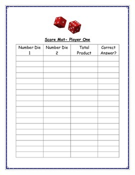 Double Digit Multiplication- Dice Game