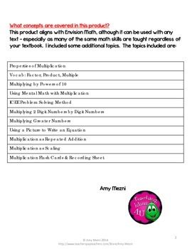 Double Digit Multiplication Interactive Notebook INB Unit 4th & 5th Grade