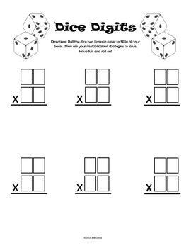Double Digit Multiplication Practice Activity / Game