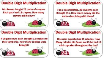 Double Digit Multiplication Task Cards Ladybug Themed