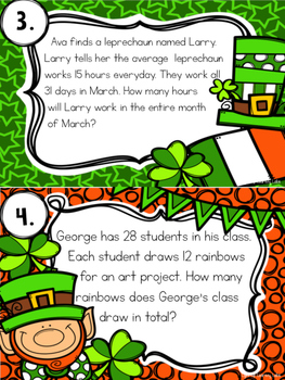 Double Digit Multiplication Task Cards: St. Patrick's Day Theme
