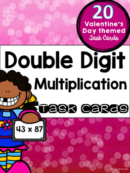 Double Digit Multiplication Task Cards: Valentine's Day Theme
