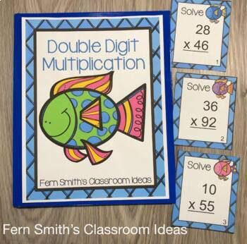 Multiplication Task Cards for Double Digit Multiplication Ocean Themed