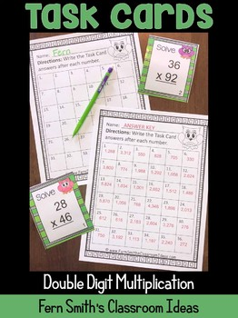 Double Digit Multiplication Task Cards and Recording Sheet
