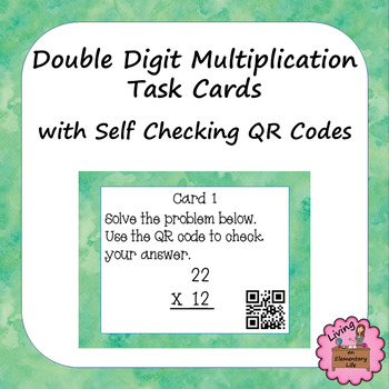 Double Digit Multiplication Task Cards with Self Checking QR Codes