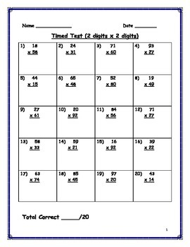 Double Digit Multiplication- Timed Tests #2