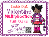 Double Digit Multiplication Valentine's Task Cards With QR Codes