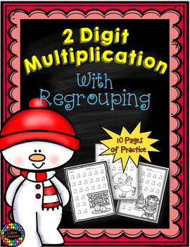 Two Digit Multiplication With Regrouping, Winter Themed