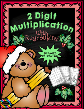 Double Digit Multiplication With Regrouping, Two Digit Multiplication, Christmas