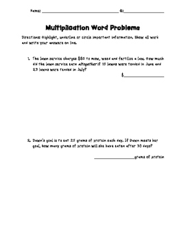 Double Digit Multiplication Word Problems