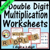 Double Digit Multiplication Worksheets w/ Riddles Grades 4