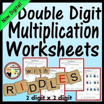 Double Digit Multiplication Worksheets w/ Riddles  Grades 4-5