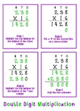 Double Digit Multiplication anchor chart