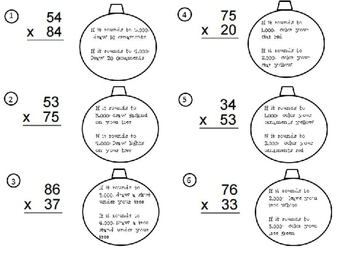 Double Digit Multiplication and Rounding:  Decorate the Tree
