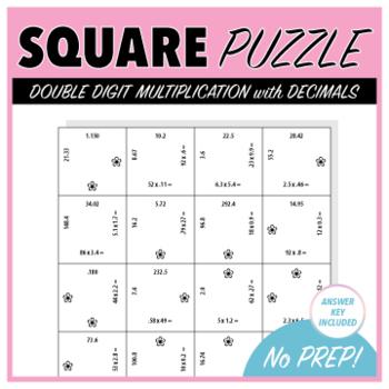 Double Digit Multiplication with Decimals - Square Puzzle