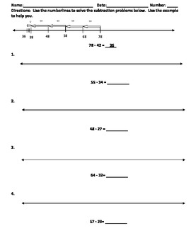 Double Digit Number Line Subtraction CCSS 2.NBT.B.7