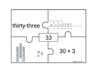 Double Digit Number Representation Puzzles with Number Lines