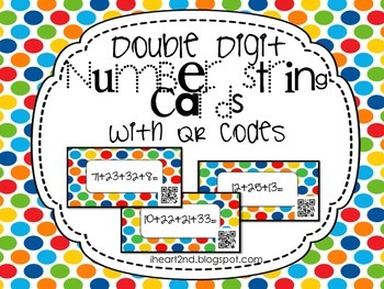 Double Digit Number String Cards With QR Codes