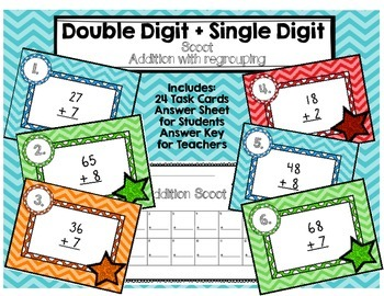 Double Digit Plus Single Digit Addition with Regrouping Scoot