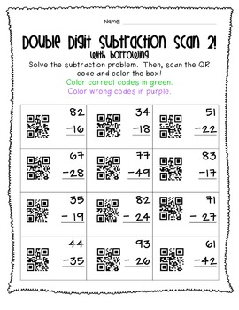 Double Digit QR Code Fun! (With Regrouping and Borrowing)
