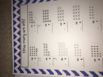 Double Digit Subtracition Using Manipulative up to 20