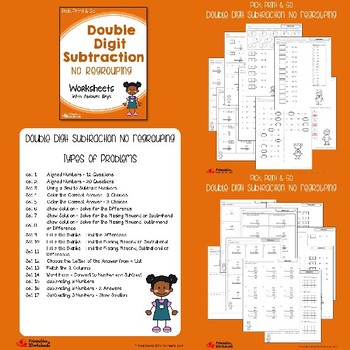 Double Digit Subtraction No Regrouping, With Regrouping Worksheets