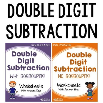 Double Digit Subtraction With Regrouping, Without Regroupi
