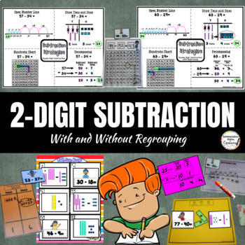 Double Digit Subtraction, 2-Digit Subtraction Game (War, Memory, Roll, Say Keep)