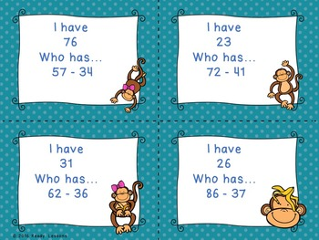 I Have Who Has Double Digit Subtraction Game 2.NBT.5