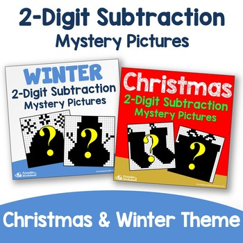 Christmas, Winter Two Digit Subtraction Coloring Pages